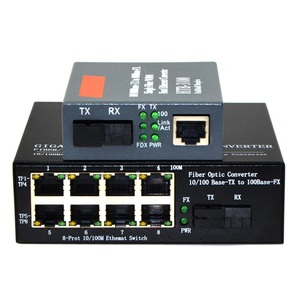 Image 1 - Conversor de mídia de fibra óptica, conversor de mídia 1 ch * sc 8 ch * rj45 1 ch * 100mbps transmissor de fibra ótica sc 1 ch rj45, 1 par