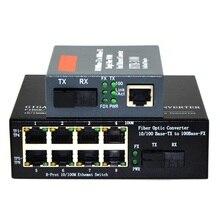 Convertidor de medios de fibra óptica 10/100Mbps, 1 CH * SC 8 CH * RJ45, 1 CH * SC 1 CH * RJ45, transceptor de fibra óptica 1 par
