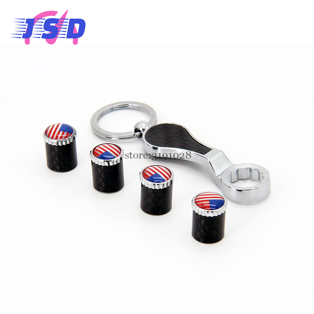 Car accessories tire valve caps dust cover keychain with usa flag logo for fiat 500 ford
