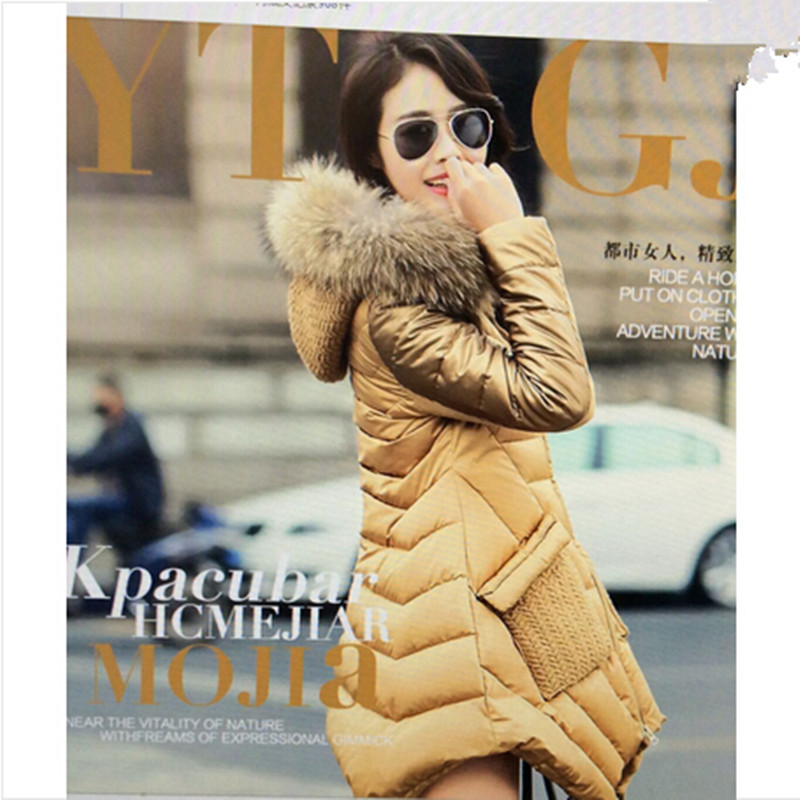 AILOOGE 2017 Winter   Coat   Women Vestidos   Down     Coat   Thicker   Coat   Jacket Fur Fox Fur Collar Lrregular Hem   Coat   Jackets Women