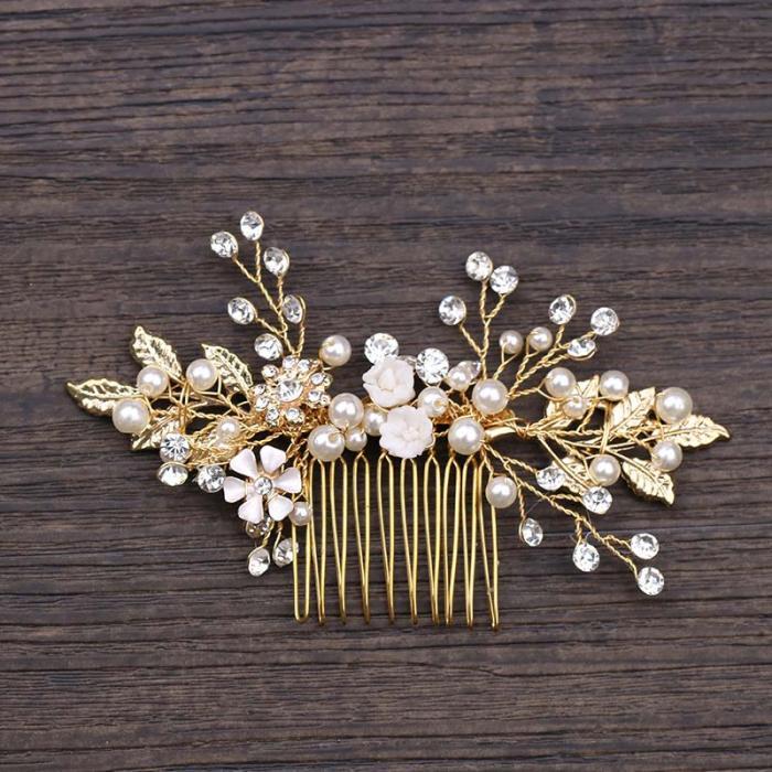 Gold Leaf Flower Pearl Rhinestone Hair Comb Wedding Hair Jewelry 8