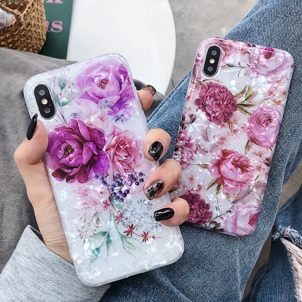 LOVECOM Retro Floral Ring Stand Phone Case For iPhone Models 29