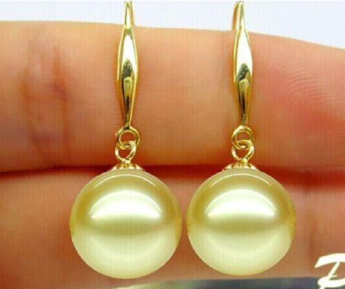 hj 00321 AAA pair of natural 10-11MM Australian south sea gold pearl earrings