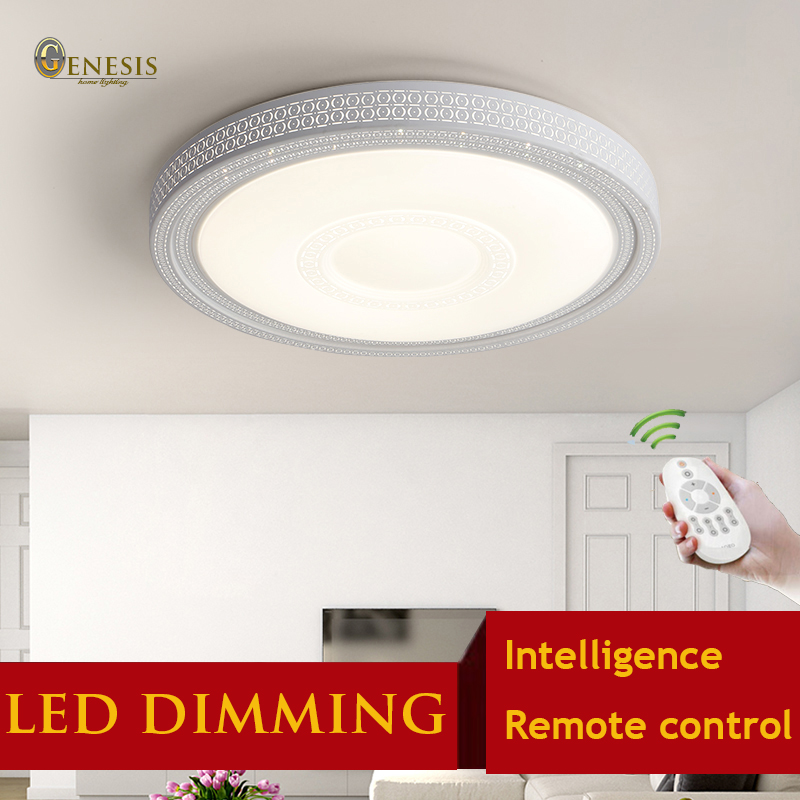 ФОТО ps6355 remote control surface ceiling mounted modern led chip dimming lights acryl round bedroom living room ceiling lights