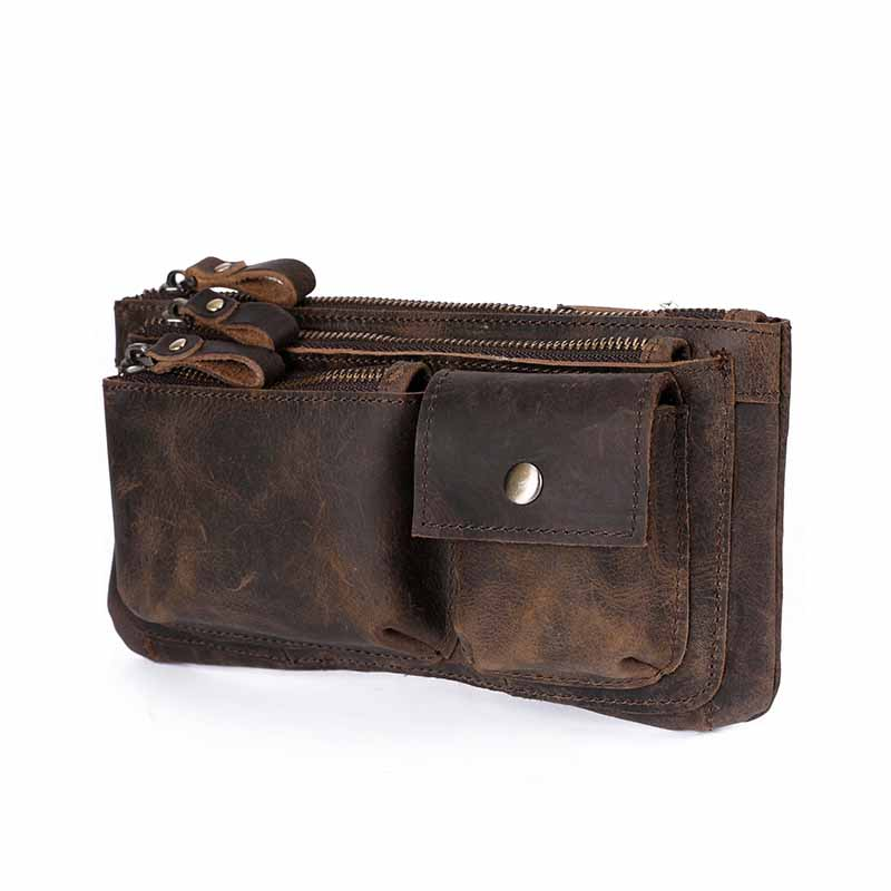 New Quality Leather Men Casual Fashion Travel Waist Belt Bag Chest Pack Sling Bag Design Phone Cigarette Case Pouch Male 811-29