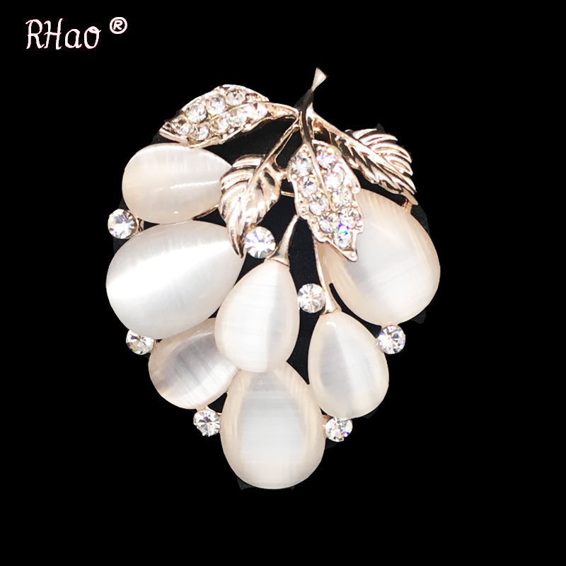 RHao Romantic Women Vivid Fruit Brooches Gold-color Opal grape flower brooch pins girls clothes dress jewelry buckles accessory