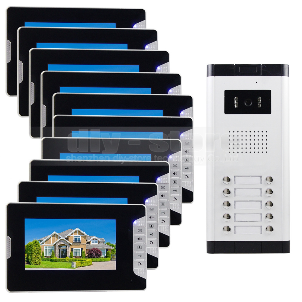DIYSECUR Quality 7 4-Wired Apartment Video Door Phone Audio Visual Intercom Entry System IR Camera For 10 Families homefong 10 home wired video door phone audio visual intercom entry system for villa dual way intercom support sd ip65 1v3