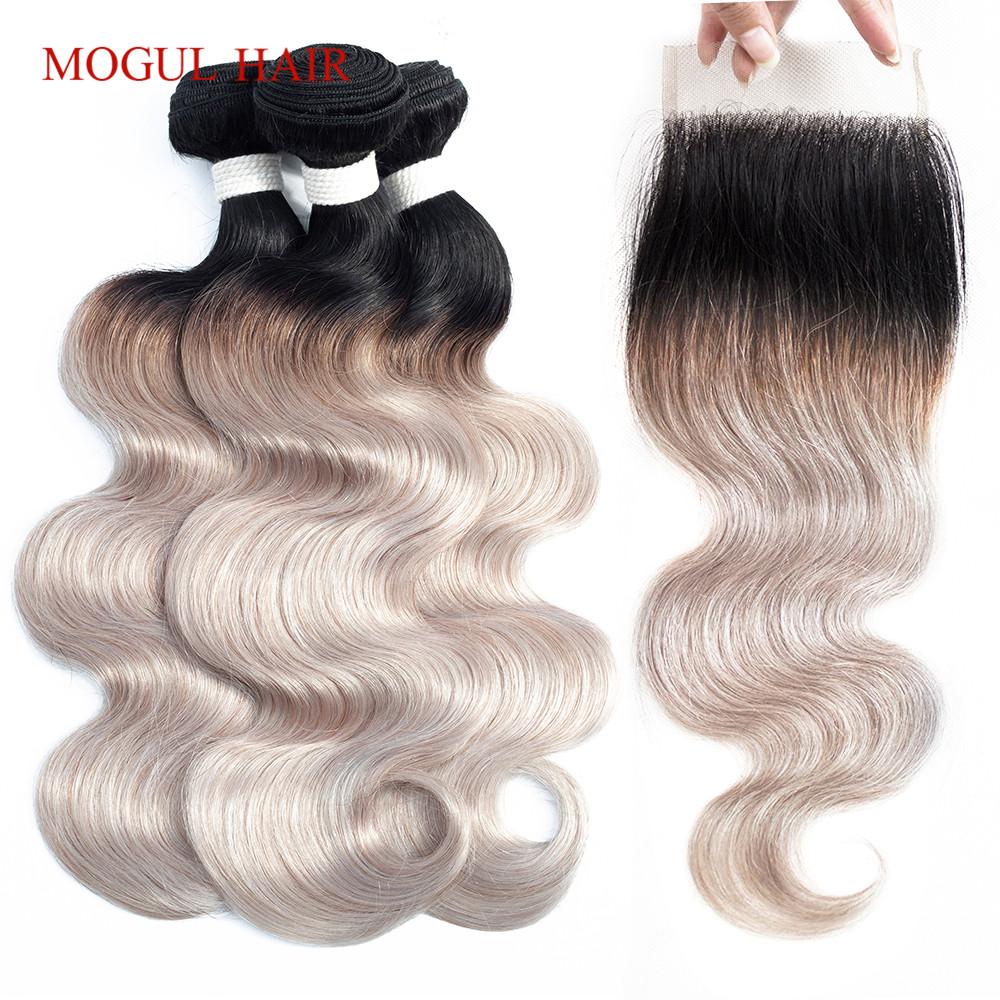 MOGUL HAIR T <font><b>1B</b></font> White Grey Ombre Human Hair 2/3 <font><b>Bundles</b></font> <font><b>with</b></font> <font><b>Closure</b></font> Brazilian Body Wave Hair <font><b>Bundles</b></font> Remy Hair Weave Extension image