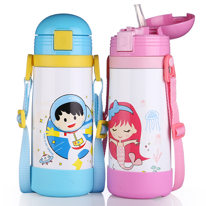 450ml Baby Cups Kids straw cup BPA free Portable Bottle Cartoon infant drinking water bottle training cup Travel School Using 240ml baby drinking water bottle cups with straw portable feeding bottle cartoon water feeding cup with the handle for baby hot
