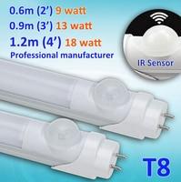 Motion Sensor Induction LED Tube Light For Underground Parking Area 2ft 3ft 4ft T8 9w 13w