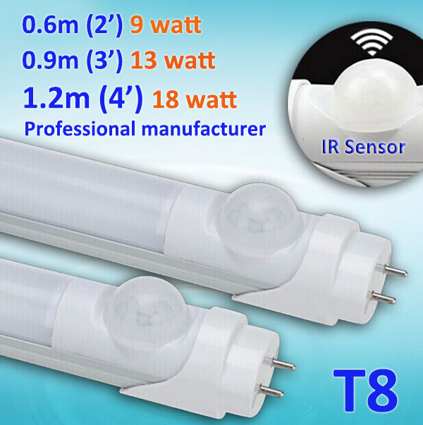Motion Sensor Induction LED tube light for underground parking area 2ft 3ft 4ft T8 9w/13w/18w, Replace 40w/60w Fluorescent Tube free shipping led tube t8 bulb 8ft 40w 110 277vac r17d converter replace ho fluorescent lamp light