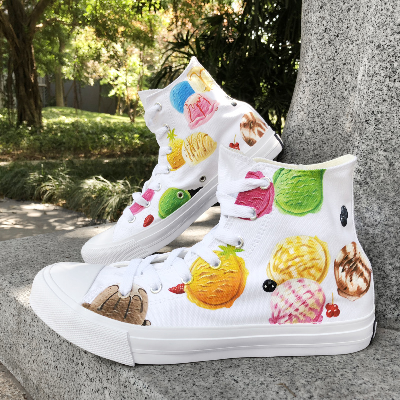 Wen Ice Cream Design Original Hand Painted Shoes Canvas Sneakers Women Men High Top Flat Skateboarding Plimsolls Big Size 46-49 wen sneakers colorful ice cream hand painted canvas shoes white high top plimsolls original design graffiti single shoes flat