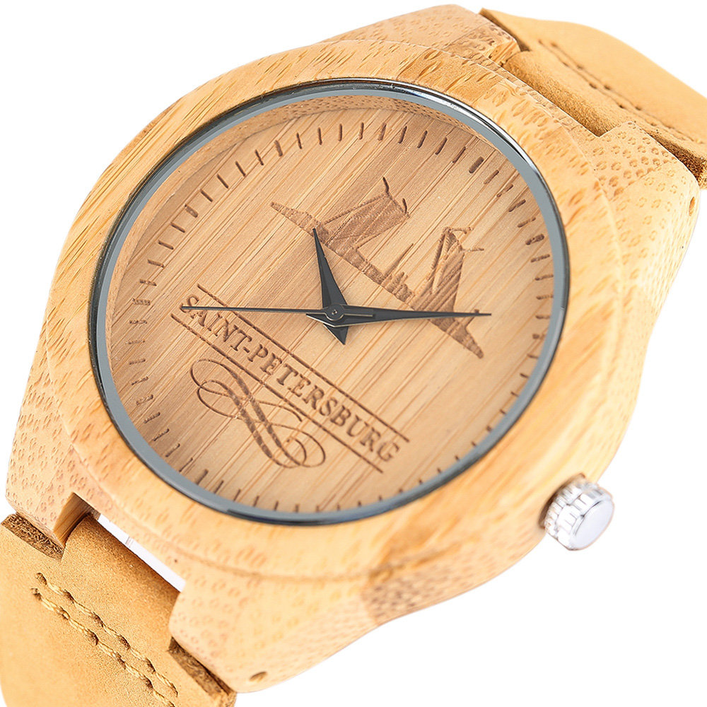 Sports Wooden Watches 2017 Women's Men's Russian Souvenirs Creative Engraving Saint Petersburg Minimalist Wristwatches Relogio