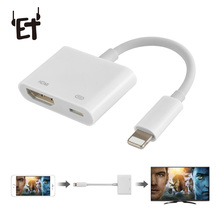 ET 1080P HD HDMI Adapter for iPhone X 8 7 iPad Air iPod Portable Digital AV Adapter 4K USB Cable Connector for Apple Phones new digital av hdmi adapter cable connector 30pin dock connector to hdmi for iphone 4 4s for ipad 2 3 for ipod for ipad touch