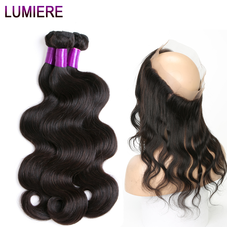 Lumiere Hair Indian Remy Body Wave 100 Human Hair Bundles With Frontal 360 Lace Frontal With