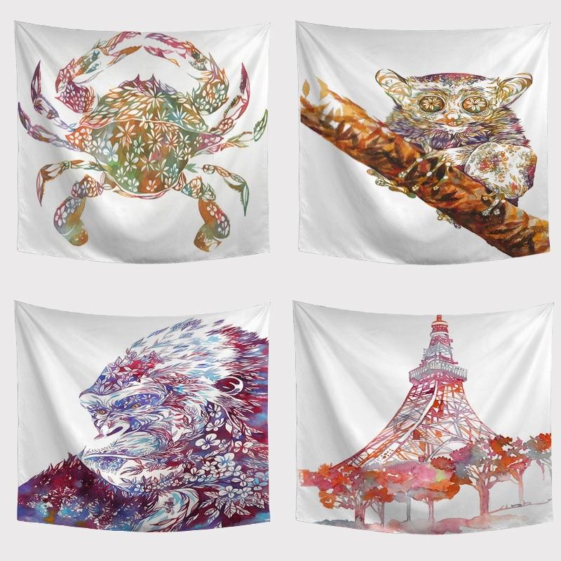 Персонализированные гобелены Краб жираф Свинья Пингвин лягушка дизайн сплошной цвет фон полотенце Коврик для пикника на открытом воздухе украшение комнаты