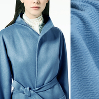 150CM Wide 610G/M Weight Water Wave Thick Sky Blue Silk Cashmere Wool Autumn and Winter Overcoat Outwear Fabric J005