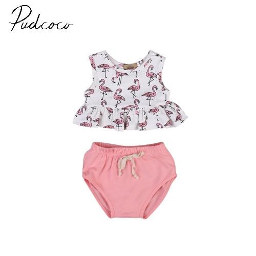 Pudcooco/пуловер из 2 предметов модная летняя одежда без рукавов для маленьких девочек топы без рукавов + шорты, наряды на возраст от 3 до 18 месяце...