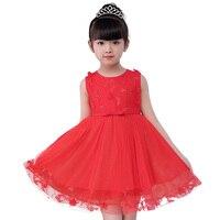 2018 nuevo Vestidos de flores de niña verano rosa roja vestido de la comunión del Desfile del partido Niñas niños ropa para la boda 3-12y