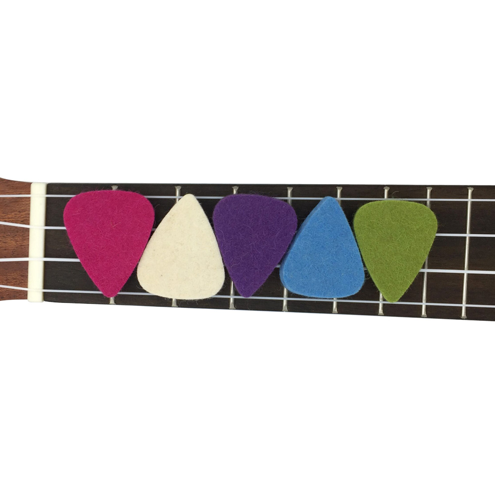 Soft Guitar Ukulele Felt Picks 5 Colors Pack 3.5mm Thickness Concert Soprano Tenor 21 23 26 Accessories Plectrum
