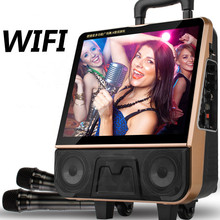 Outdoor portable video audio speaker bluetooth WiFi trolley sound music player Karaoke machine charging MP3 wireless microphone