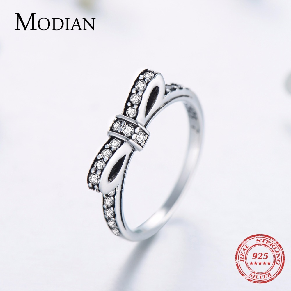 Modian Authentic Solid 925 Sterling silver Stackable Ring Wedding Fashion bowknot jewelry Sparkling CZ Women Valentines gift