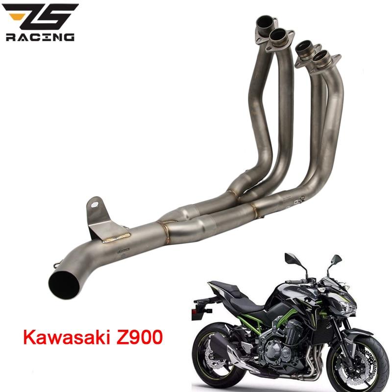 ZS Racing Moto Échappement Milieu tuyau Système Cas Pour Kawasaki Z900 Silencieux Tuyau Avant Tête Tuyau Tube Slip-Sur avec Capteur