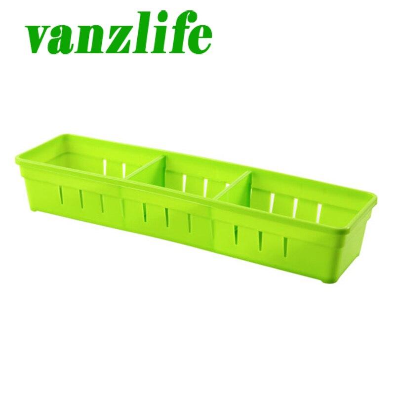 vanzlife cucina posate di plastica partizione armadio frigorifero cassetto con griglia scatola di immagazzinaggio di trasporto