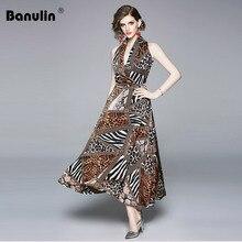 Banulin Fashion Designer Runway Summer Women Dress Halter V-Neck Off Shoulder Leopard Print Sexy Club Party Long