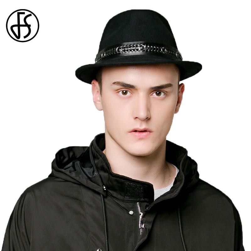 FS Vintage 100% Wool Felt Hat <font><b>For</b></font> Men Classic Jazz <font><b>Fedoras</b></font> Shor Brim Black Male Cool Punk <font><b>Fedora</b></font> Winter Autumn Panama Cap