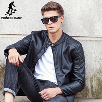 Pioneer Camp 2018 new fashion autumn winter men leather jacket brand clothing motorcycle jacket quality male leather coat men 1