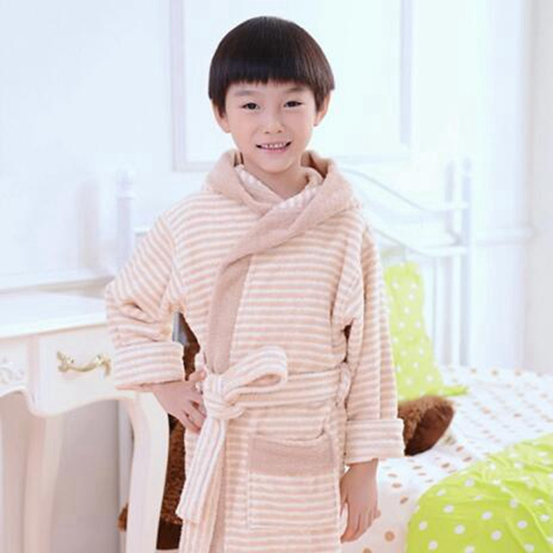 Childrens Bathrobe Kids Winter Spring Home Wear One Piece Pajamas Boy Girl peignoir enfant Gown Robes Easter Gifts color cotton