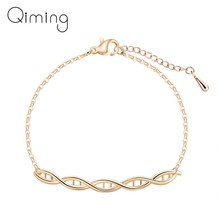 DNA Science Bracelets Women Chemistry Formula Molecule Geometric Double Helix Chain Bracelet Bangle Christmas Gift Jewelry(China)