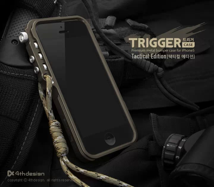 4thdesign Trigger metal bumper for iphone X 7 8 5 5S SE 4 6 6S Plus premium Aviation Aluminum bumper phone case tactical edition