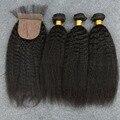 Grau 7A Unpressed Preuvian 3 Pacotes kinky reta Fechamento Base de Seda tecer cabelo Humano Peruano Virgem Cabelo Frete Grátis Hot