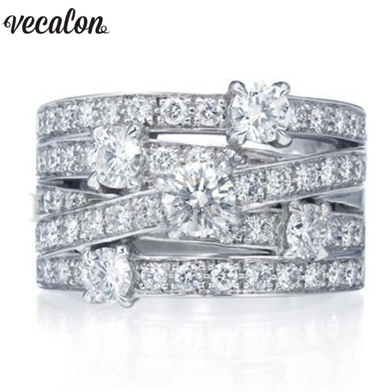 Vecalon Modeschmuck Kreuz Ring 925 Sterling Silber 5A Zirkon Cz Verlobung Hochzeit Band ringe für frauen männer fingerring geschenk