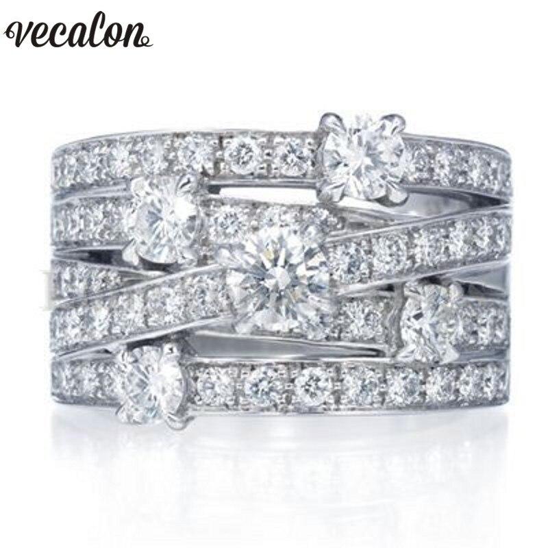 Vecalon Monili di Modo Trasversale Anello Dell'argento Sterlina 925 5A Zircone Cz Fidanzamento Wedding Band anelli per le donne degli uomini dell'anello di Barretta regalo