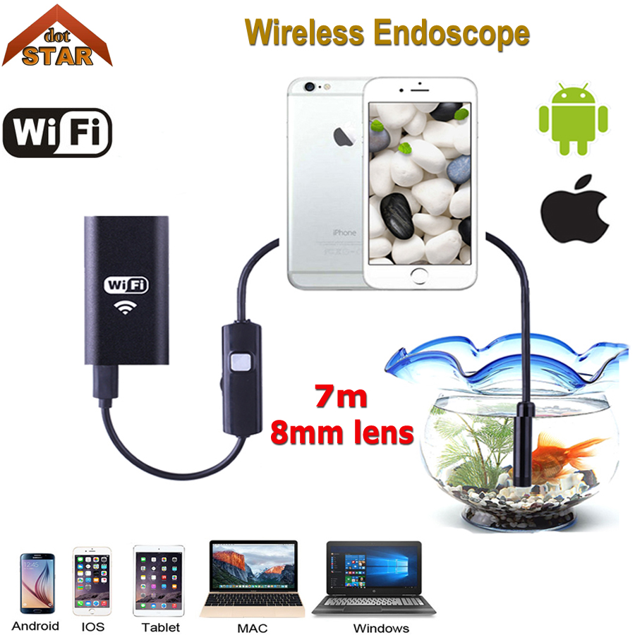 Android IOS USB Endoscope Camera Wifi Wireless Endoscope Snake Inspection Borescope Video Tube Mini USB WI-FI Camera 7M stardot industrial endoscope wifi with android and ios 720p 6 led 8mm waterproof inspection borescope tube camera with 2m cable no usb