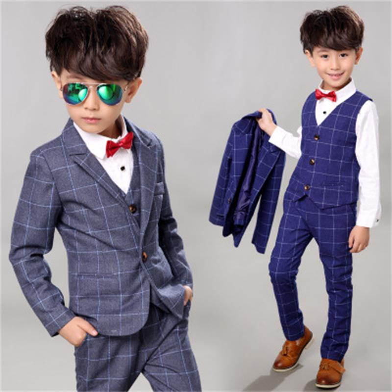 blazers for boys Spring Kids Clothes Suit formal Plaid Coat +Vest+Pants 3pcs Set Boys Wedding Suit 24M12T boys suits for wedding boys suit new spring autumn teen boys single breasted blazers casual wedding coat jacket children s top clothing kids clothes