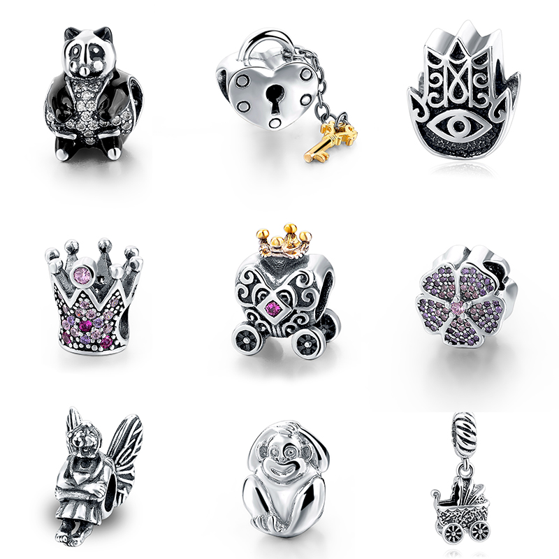 SG 100% Authentic 925 Sterling Silver Charms animal car Beads Fit pandora Bracelet Pendant DIY beads Jewelry valentines Gift