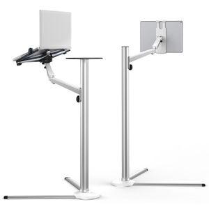 Image 2 - 3 в 1, подставка из алюминиевого сплава для планшетов 7 13 дюймов + держатель для смартфона 3,5 6 дюймов + напольная подставка для ноутбука 10 15,6 дюймов, Поворотный шарнир с лотком для мыши