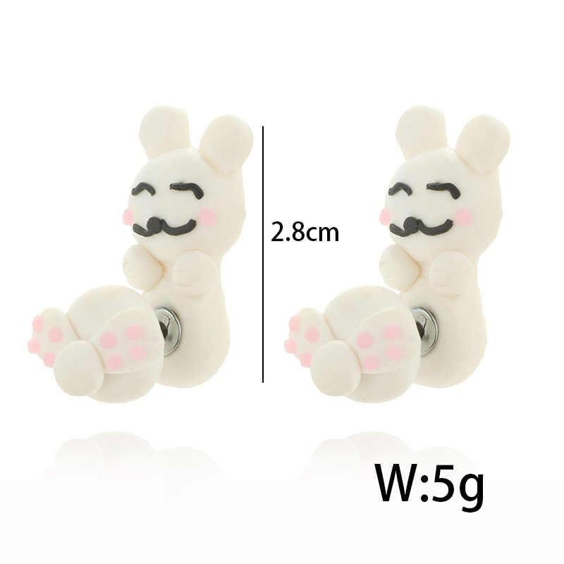 Imixlot בעבודת יד פולימר חימר חמוד ארנב עגילים 3d בעלי החיים עגיל לנשים ילדה ילדים Brincos תכשיטי מתנה