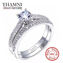 YHAMNI Victoria Wieck Original 925 Sterling Silver Ring Full Pave 5A Cubic Zirconia Wedding Engagement Band Rings for Women J131