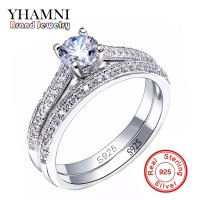 YHAMNI Victoria Wieck Original 925 Sterling Silver Ring Full Pave 5A Cubic Zirconia Wedding Engagement Band