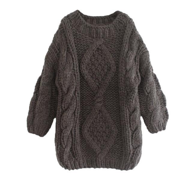Tienda Online Invierno vintage mujeres Cable de punto suéter grueso ...