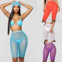 2019 Summer Sexy Women's See Through Hot Pants Transparent Shorts Sheer Mesh Cover up