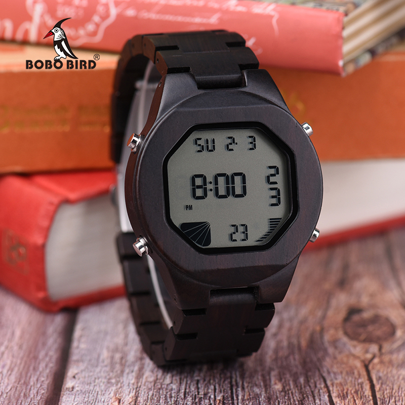 BOBO BIRD Mens Luxury Brand LED Sports Wooden Watches Casual Bamboo Wood Digital Watches Mens Multifunctional in Wood Box W-Q06 naturally retro style minimalism luxury simplicity walnut wooden watches men with wood bamboo straps famous brand mens watches