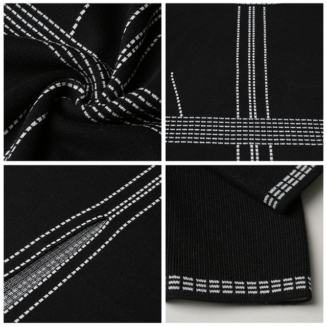 XIKOI Casual Women Knitting Dress Black MIDI O-Neck Fashion Hem Split Ladies Women's dresses Knee-Length Graceful 2019 Spring 4