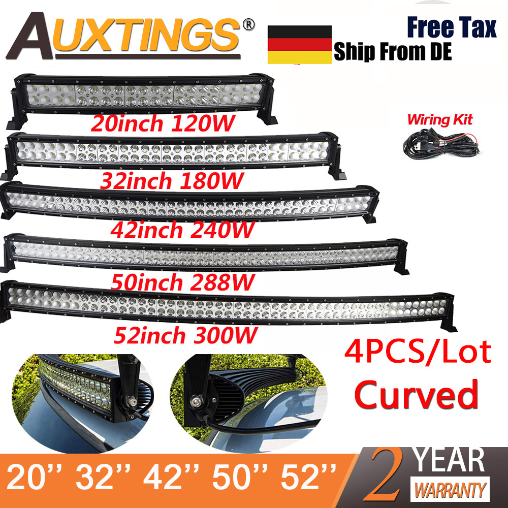 Hot Sale Auxtings Wholesale 4x 21 32 42 50 52 Inch Curved Led Leds On 12v For Cars And Trucks Light Bar 240w 300w Dual Row Driving Offroad Car Truck 4x4 Suv Atv
