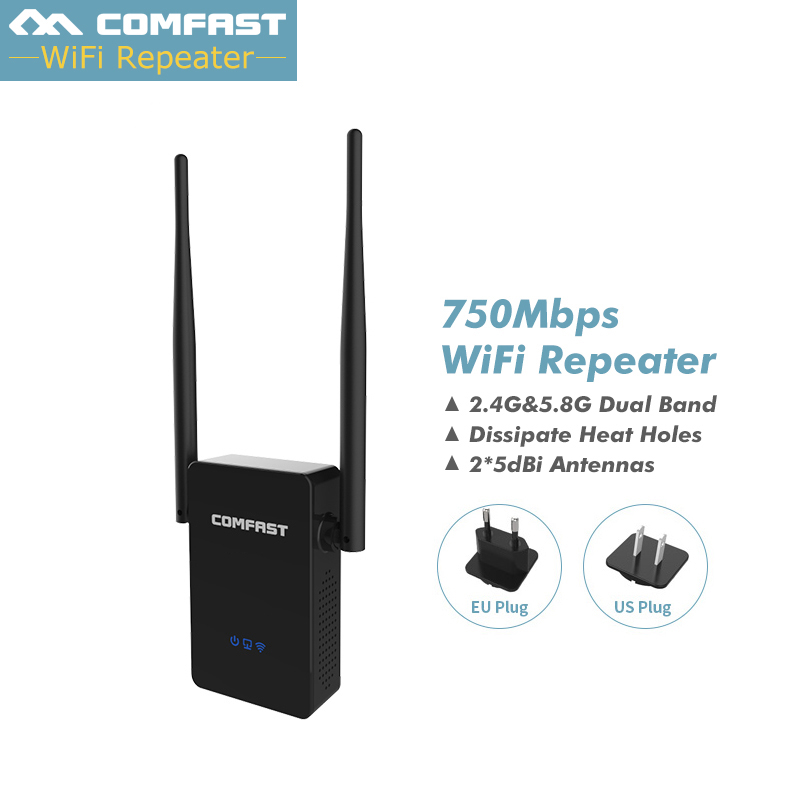 Comfast Dual Band 750Mbps Wifi Repeaters Roteador 802.11AC Wireless Router 2.4GHz +5GHz CF-WR750 AC Wi fi Extender Amplifier